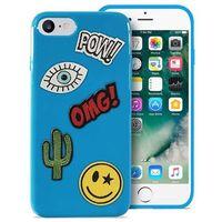 Puro Etui  patch mania do iphone 7 w zestawie 5 naklejek niebieski (8033830182570)