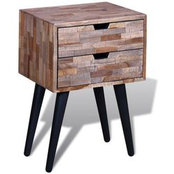vidaXL Szafka nocna z przetworzonego drewna tekowego 2 szufladami