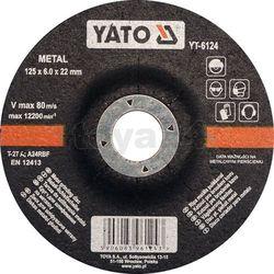 Tarcza do szlifowania metalu 125x6,0x22 mm / YT-6124 / YATO - ZYSKAJ RABAT 30 ZŁ