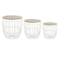 3x Stolik kawowy, stoliki okazjonalne do salonu, komplet trzech metalowych stolików o różnej wielkości - 3 szt w zestawie