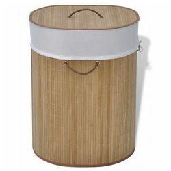 Elior Owalny bambusowy kosz na pranie lavandi 3x- naturalny