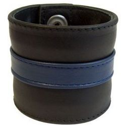 Wąska skórzana opaska na nadgarstek niebieska, rozmiar - xl, marki Mister b (nl)