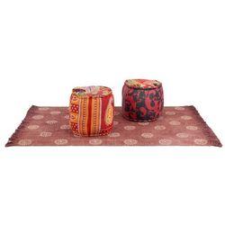 Zestaw puf patchworkowych i dywanika, 3 elementy, tkanina
