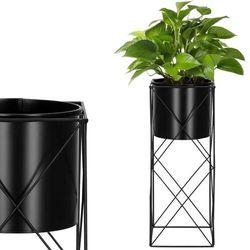 Stojak na kwiaty 53 cm z doniczką nowoczesny kwietnik loft czarny mat