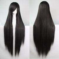 100CM Long Glossy Straight Side Bang Harajuku Anime Synthetic Cosplay Wig
