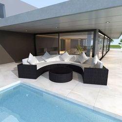 Zestaw z półokrągłą sofą do ogrodu, 17 cz., polirattan, czarny