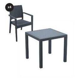 Siesta exclusive Zestaw mebli ogrodowych z technorattanu krzesła 4 + stół 80x80 ibiza szary