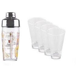 LUMINARC Komplet do drinków. 4 szklanki 350 ml plus shaker