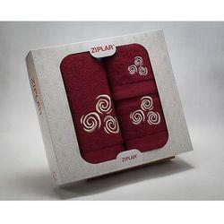 KOMPLET ręczników 3 szt. ZIPLAR bordowy