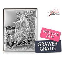 Valenti & co Srebrny obrazek - anioł stróż - prezent dla dziecka: chrzest, komunia, rocznica-grawer