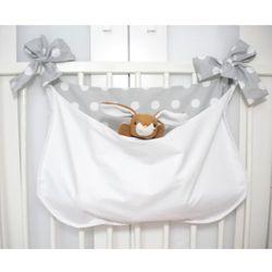 Minimaleni Torba na łóżeczko szare grochy na białym