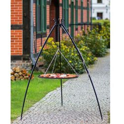 Grill na trójnogu z rusztem ze stali czarnej 200 cm / 50 cm średnica