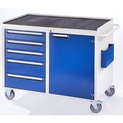 Stół warsztatowy, ruchomy, 5 szuflad, 1 drzwi, półka metalowa z matą gumową, jas marki Rau