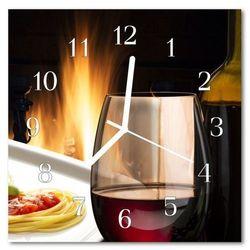 Zegar szklany kwadratowy Spaghetti wino lampka