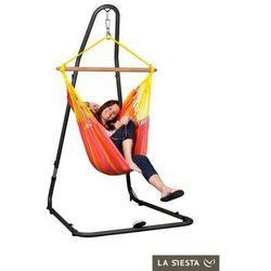 Zestaw hamakowy: fotel hamakowy sonrisa ze stojakiem mediterraneo, czerwono-żółty snc14mea12 marki La siesta