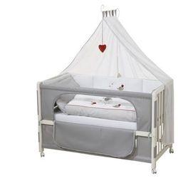 Vente-unique Drewniane łóżeczko dostawka do karmienia loris - 60 × 120 cm - regulowana wysokość - kółka