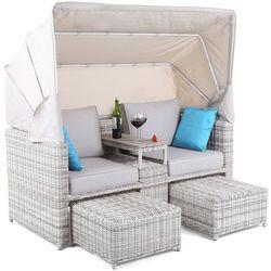 Sofa ogrodowa z baldachimem technorattan michigan l/l marki Home&garden