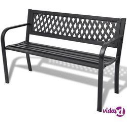 Vidaxl ławka ogrodowa czarna stalowa