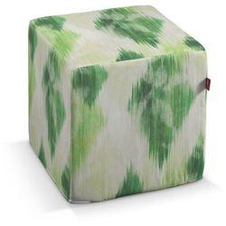 pufa kostka twarda, zielono-szary, 40x40x40 cm, aquarelle marki Dekoria