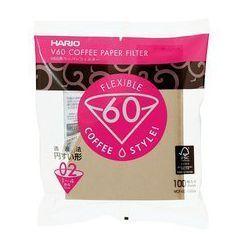 Hario filtry brązowe V60-02, 100szt. papierowe Misarashi brązowe