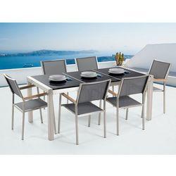 Meble ogrodowe - stół granitowy 180 cm czarny polerowany z 6 szarymi krzesłami - GROSSETO (7081453241076)