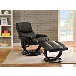 Fotel masujący JULIO ze skóry - Czarny, kolor czarny