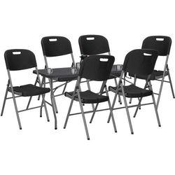 Zestaw cateringowy, stół 180 cm z 6 krzesłami składany na bankiet, zestaw turystyczny czarny