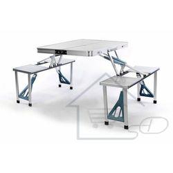 Stół ogrodowy składany + ławki, z siedzeniami.