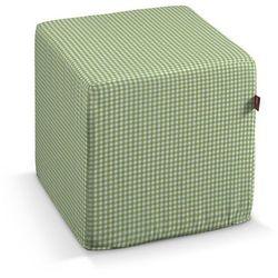 Dekoria Pufa kostka, zielono biała krateczka (0,5x0,5cm), 40 × 40 × 40 cm, Quadro