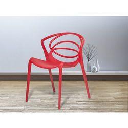 Krzesło do ogrodu czerwone - krzesło do jadalni, do salonu - bend od producenta Beliani