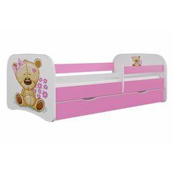 Łóżko dla dziecka, barierka, babydreams, miś z kwiatkami, różowe (5903282038073)
