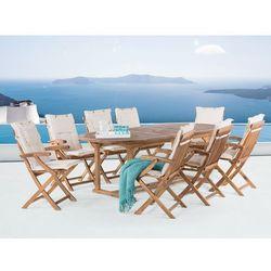 Meble ogrodowe - stół rozkładany + 8 krzeseł + beżowe poduszki - JAVA, kup u jednego z partnerów