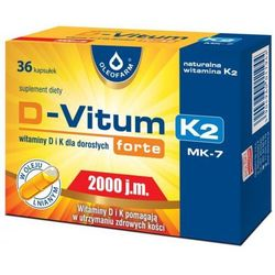 D-Vitum forte 2000 j.m. K2, 36 kaps. Oleofarm (artykuł z kategorii Pozostałe leki chorób stawów i kości)