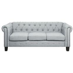 Sofa trzyosobowa tapicerowana jasnoszara proste nogi chesterfield marki Beliani