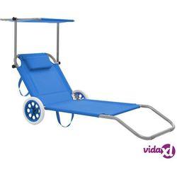 Vidaxl składany leżak z zadaszeniem i kółkami, stal, niebieski