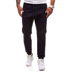 Granatowe spodnie joggery męskie Denley 0449-1 - GRANATOWY, kolor niebieski