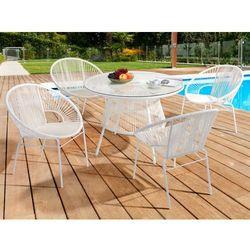 Jadalnia ogrodowa KELIOS – włókno technorattanowe – kolor biały 4 fotele i stół