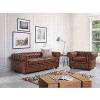 Sofa kanapa skórzana brąz Old Style klasyka dom biuro CHESTERFIELD