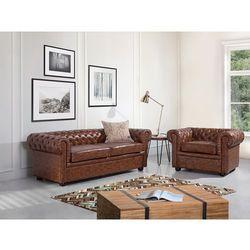 Sofa kanapa skórzana brąz old style klasyka dom biuro chesterfield od producenta Beliani