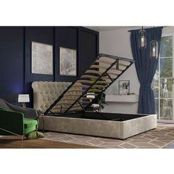 Łóżko 140x200 tapicerowane ancona + pojemnik beżowe welur marki Big meble