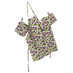 komplet kuchenny fartuch,rękawica i łapacz, fioletowo-zielone kwiatuszki na jasnym tle, kpl, wyprzedaż do -30%, marki Dekoria