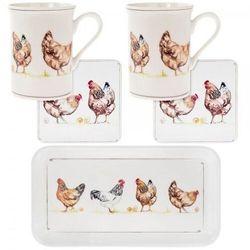 Kpl. 2 kubków z podstawkami na tacy - chickens