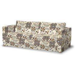 Dekoria Pokrowiec na sofę Karlstad 3-osobową nierozkładaną, długi, brązowo-niebieskie kwiaty na kremowym tle, Sofa Karlstad 3-osobowa, Etna, kolor brązowy