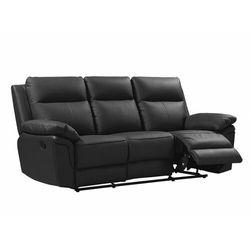 Sofa 3-osobowa z mechanizmem relaksu ze skóry bawolej PAKITA - kolor czarny, kolor czarny