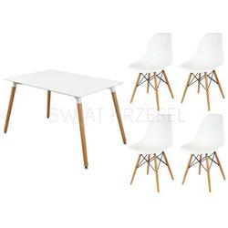 zestaw biały stół 120 x 80 + 4 krzeseł białe kr012 marki Sk design