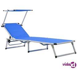 Vidaxl składany leżak z daszkiem, aluminium i textilene, niebieski
