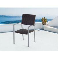 Beliani Meble ogrodowe brązowe - krzesło ogrodowe - rattanowe - balkonowe - tarasowe - torino