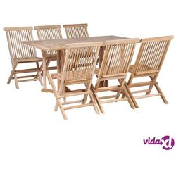 Vidaxl składany stół jadalniany i 6 krzeseł, lite drewno tekowe
