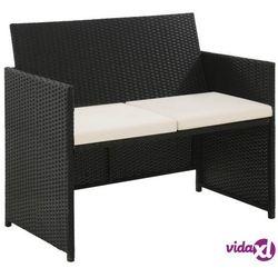 vidaXL 2-osobowa sofa ogrodowa z poduszkami, polirattan, czarna, vidaxl_43910
