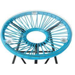 Meble rattanowe stół z 2 krzesłami niebieskie ACAPULCO